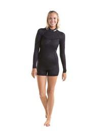 Sieviešu hidrotērps īsais ar garām piedurknēm Sofia Shorty Longsleeve 3|2MM Black izmēri XS, S, M, L